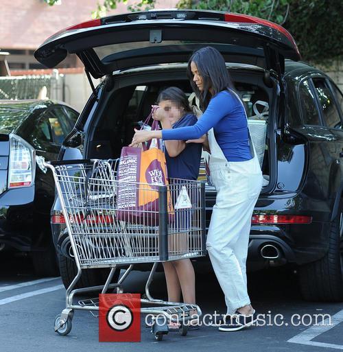 Zoe Saldana goes shopping at Whole Foods Market...