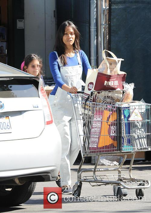 Zoe Saldana goes shopping at Whole Foods Market...