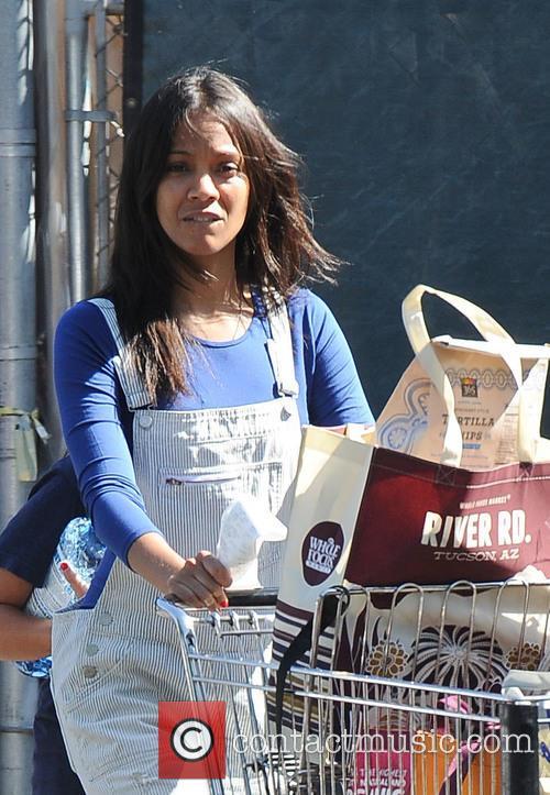 Zoe Saldana goes shopping at Whole Foods Market with her niece Kayla