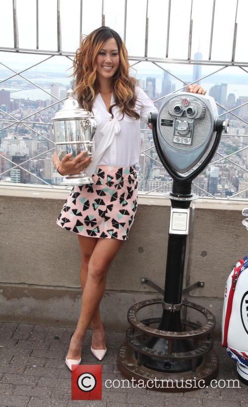 U.S. Women's Golf Champ, Michelle Wie, displays her...
