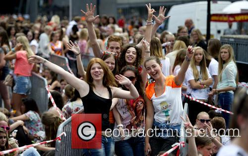 Fans of One Direction gather at the Amsterdam...