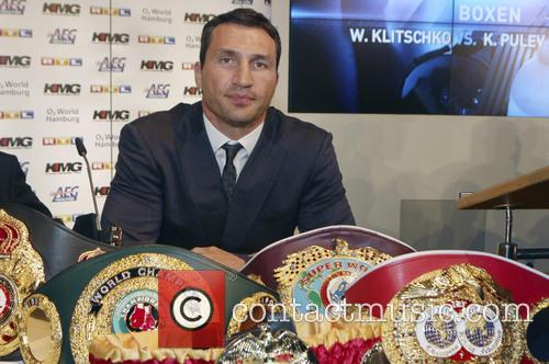 Press conference for the boxing match between Wladimir...