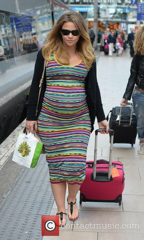 Kimberley Walsh arrives at Manchester Piccadilly