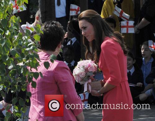 Kate Middleton arriving at Blessed Sacrament School