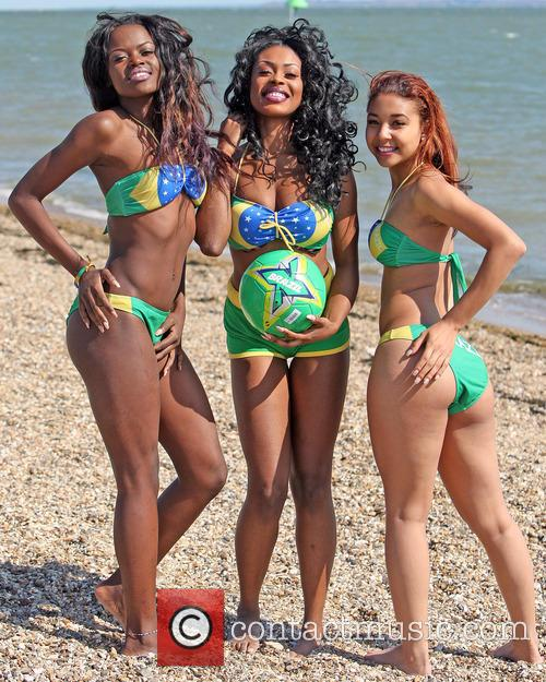 Samba Dancers show their support for Brazil