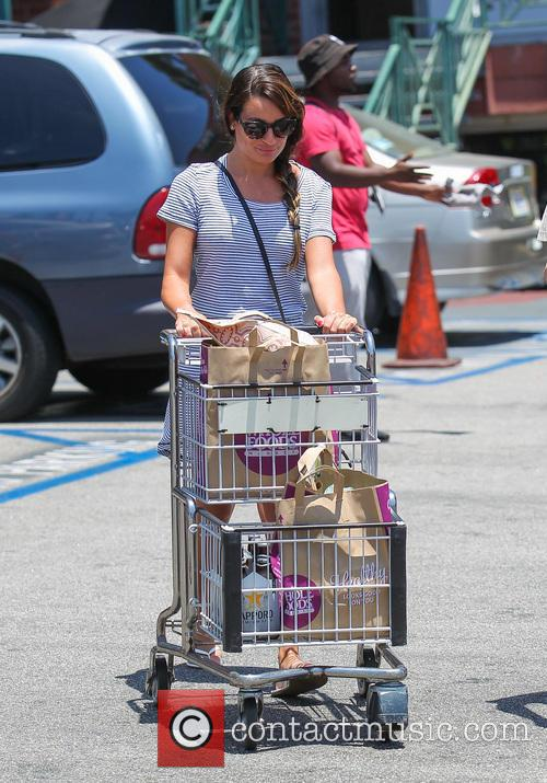 Lea Michele goes grocery shopping in sunglasses and...
