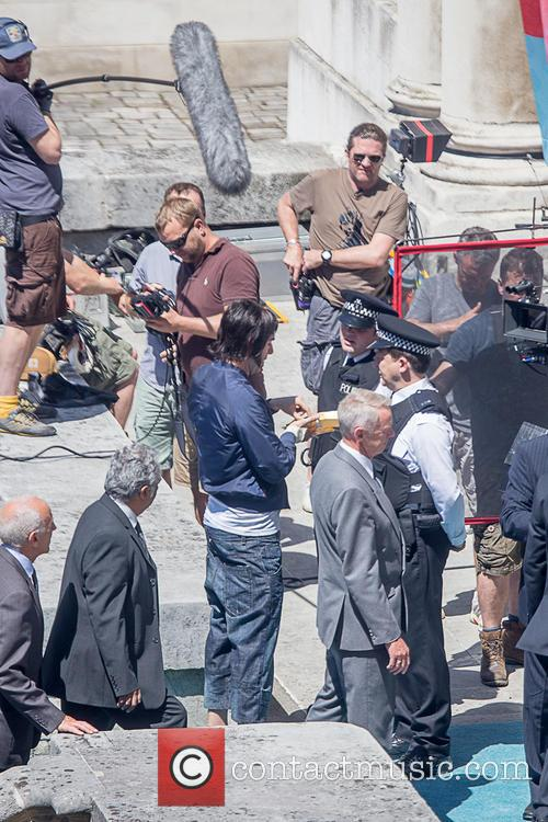 Sacha Baron Cohan filming scenes for 'Grimsby'