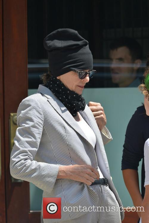 Diane Keaton wearing a strange outfit for the...