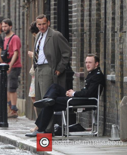 Christopher Eccleston, Tom Hardy and David Thewlis filming...