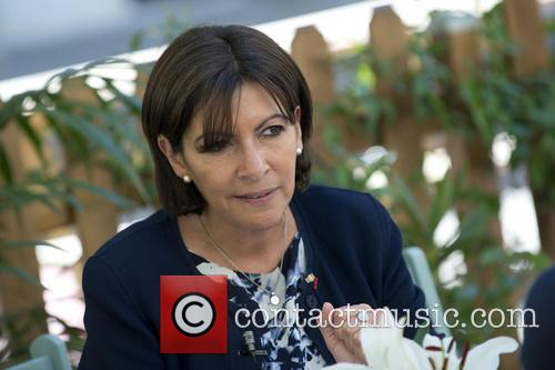 Anne Hidalgo attends a press conference at the...