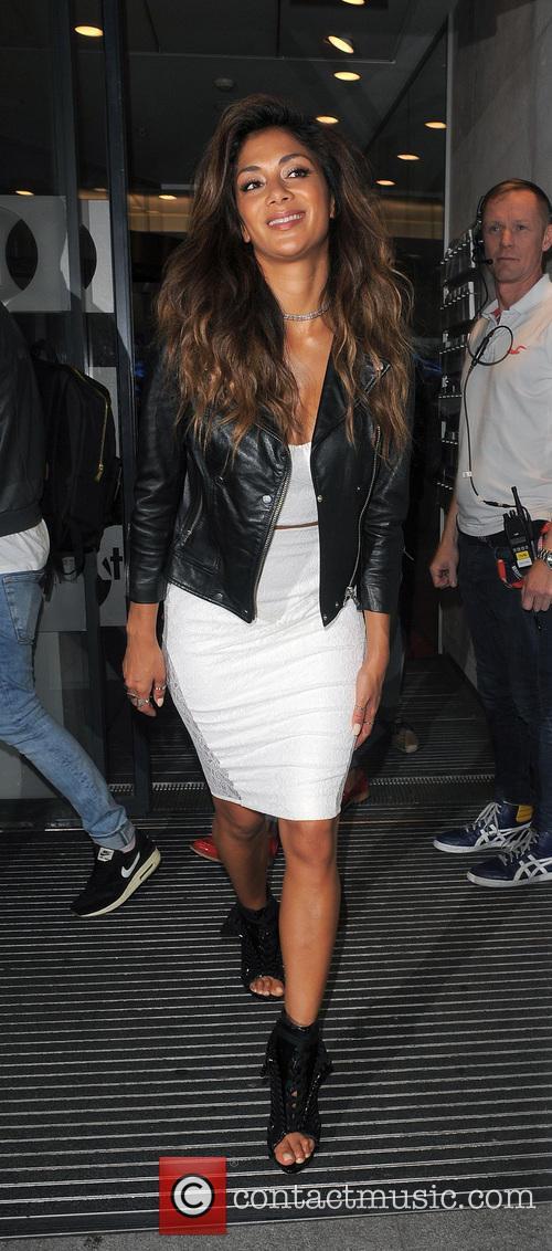 Nicole Scherzinger leaves the Radio 1 studios at...