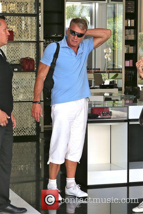 Dolph Lundgren leaves Ivy restaurant with female