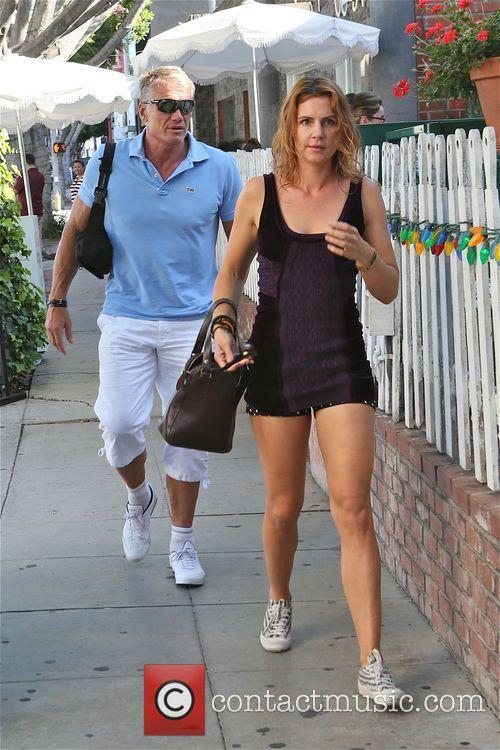 Dolph Lundgren leaves Ivy restaurant with female