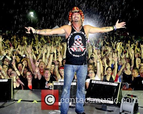 Bret Michaels performs in the rain on Long...
