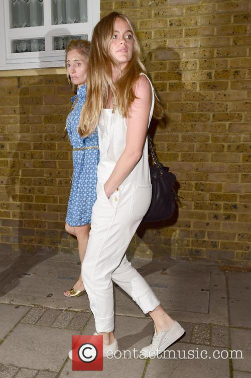 Cressida Bonas leaves a London theatre