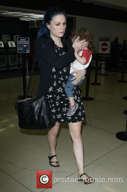 Anna Paquin and Stephen Moyer arrive at Los Angeles International (LAX) airport