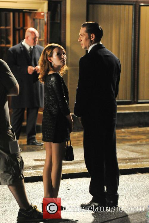 Tom Hardy and Emily Browning on set of...