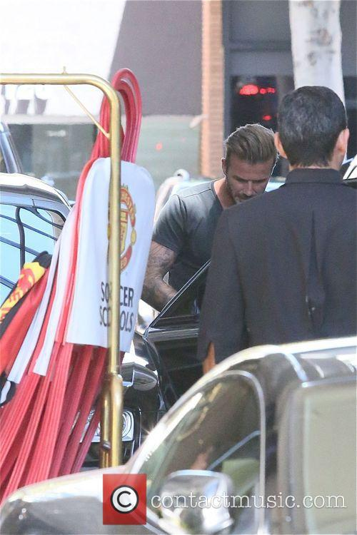 David Beckham visits his former team, Manchester United, at the Beverly Wilshire Hotel