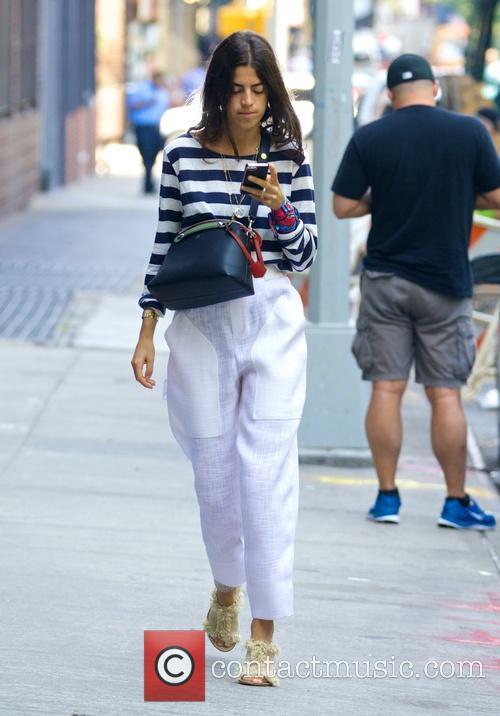 Leandra Medine walking around Soho