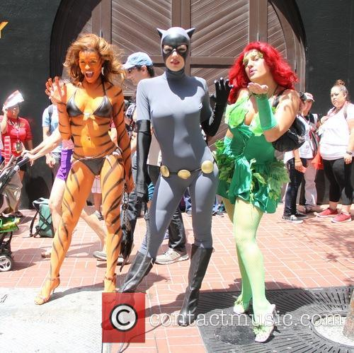 Adrianne Curry wears a Cat Woman costume while...
