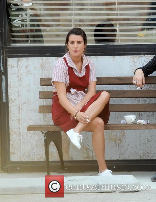 Lea Michele and Katey Sagal filming 'Sons of...
