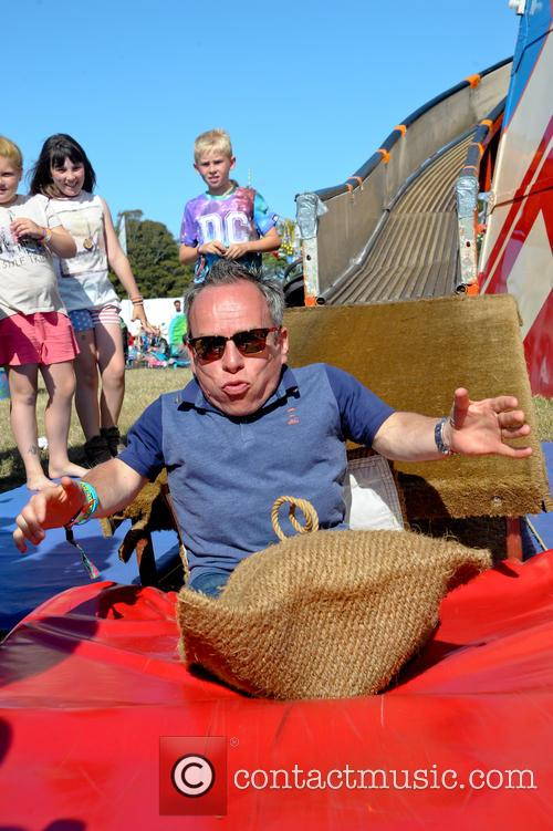 Warwick Davies and his family at Camp Bestival...