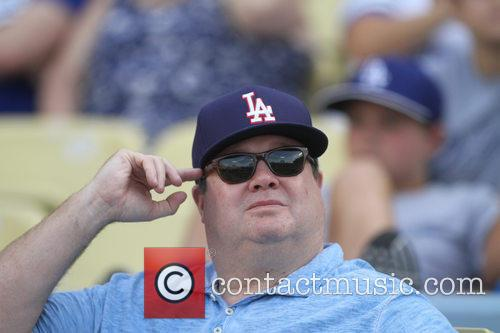 Eric Stonestreet attends the Dodgers game