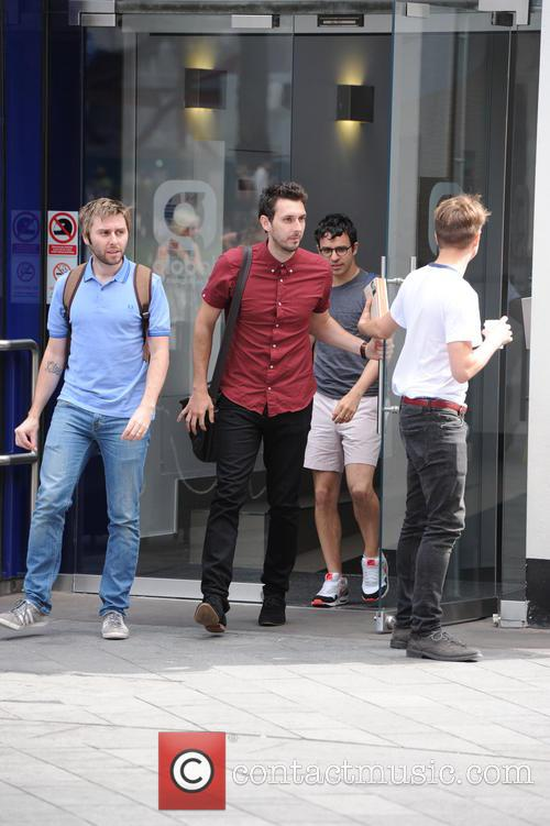 The cast of 'The Inbetweeners' leaving Global Radio