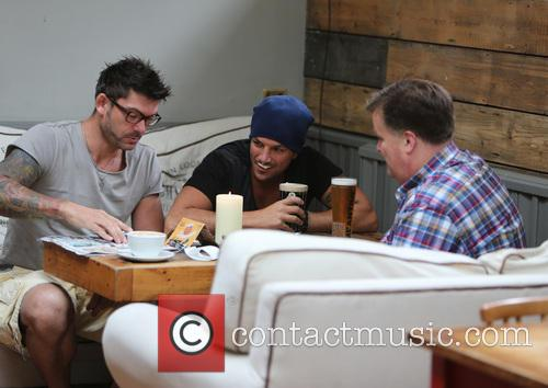Peter Andre enjoys a drink with friends