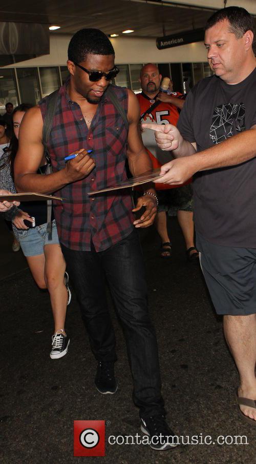 Chadwick Boseman arrives at Los Angeles International (LAX)...