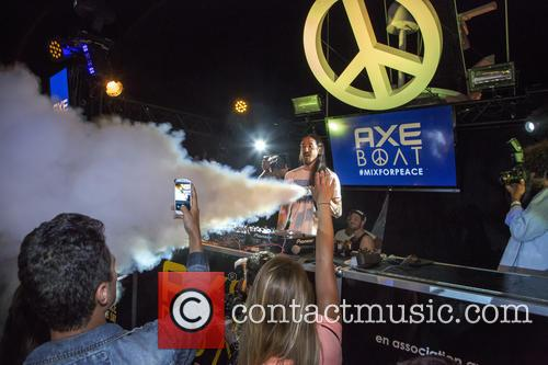 Steve Aoki performs on the Axe Boat in...