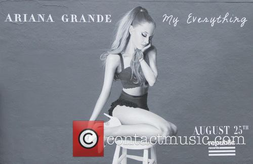 A billboard in Hollywood promotes Ariana Grande's new...