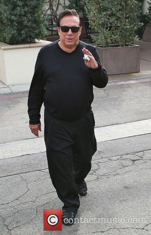Donald Sterling leaves Cafe Roma