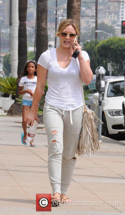 Hilary Duff spotted in Beverly Hills wearing torn...