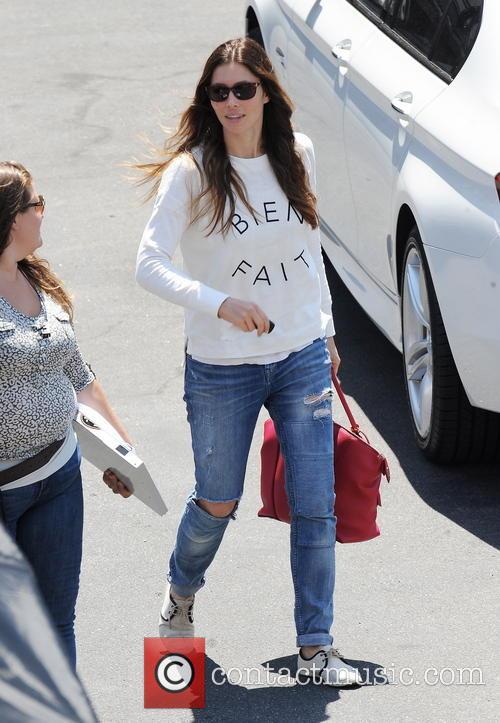 """Zooey Deschanel and Jessica Biel filming """"New Girl"""""""