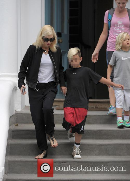 Gwen Stefani leaves a friends house with her...