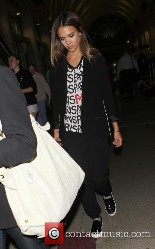 Jessica Alba arriving at LAX