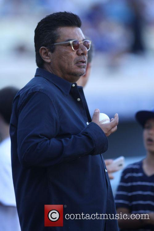 Celebrities watch the Los Angeles Dodgers v Los...