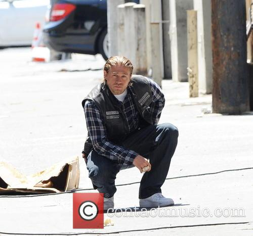 Charlie Hunnam filming 'Sons of Anarchy' in Downtown Los Angeles