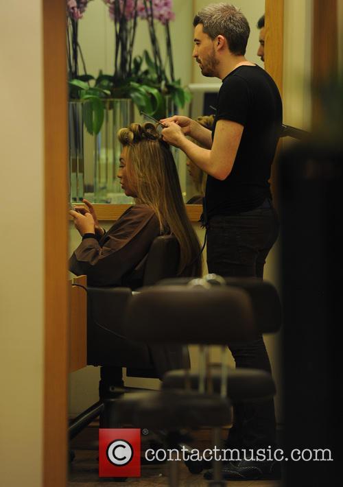 Lauren Goodger gets her hair done