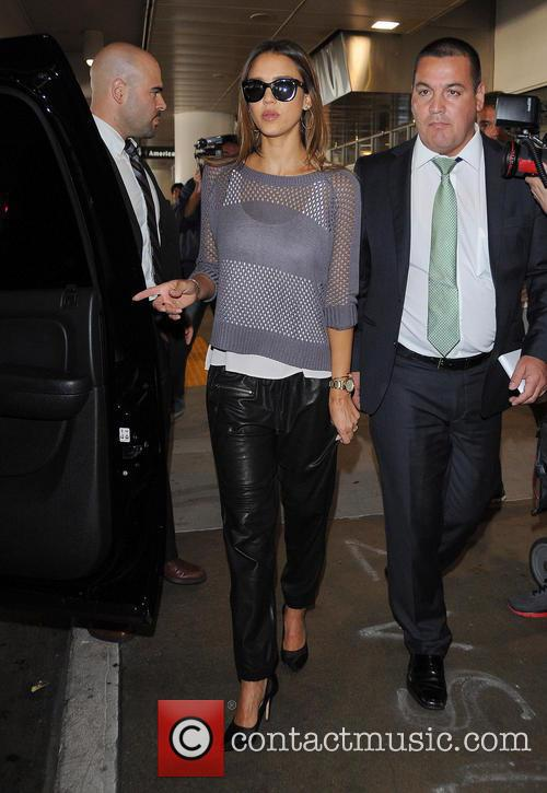 Jessica Alba arriving at Los Angeles International Airport (LAX)