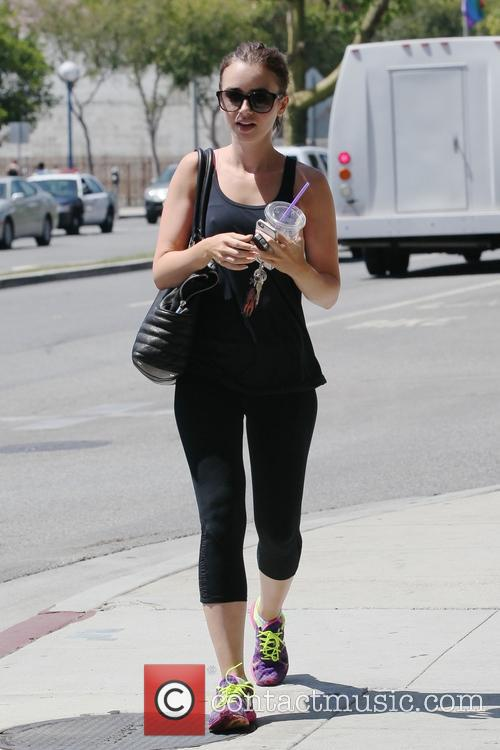 Lily Collins leaving the gym