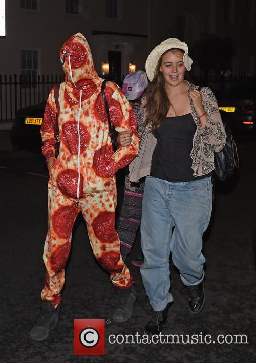 Cara Delevingne wearing a Pepperoni Morphsuit