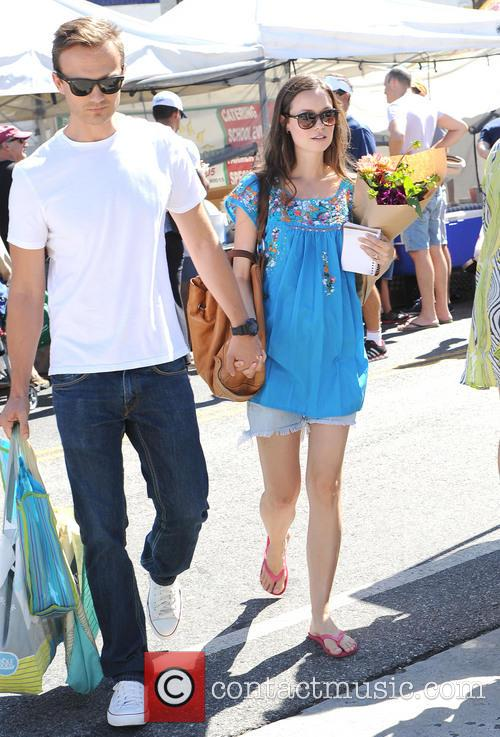Summer Glau at the Farmers Market with her...