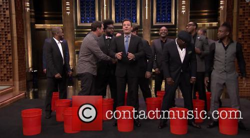 Jimmy Fallon, The Roots, Rob Riggle, Horatio Sanz and Steve Higgins