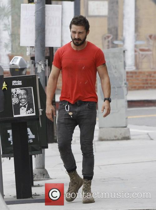 Shia LaBeouf wearing his favourite old red 'Mighty...