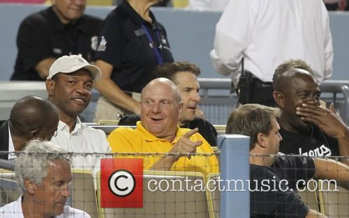 Celebrities watch the Los Angeles Dodgers v San...