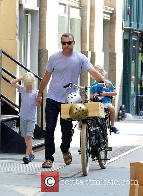 Liev Schreiber out on a bike ride with...