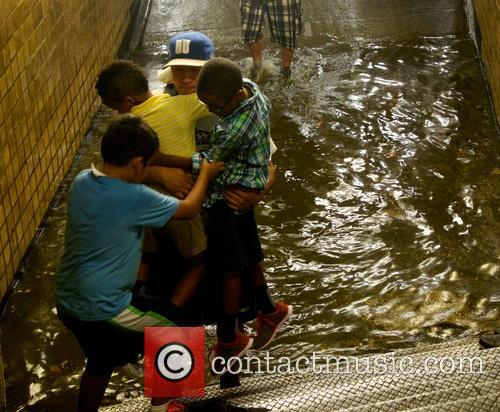 Train station floods in New York