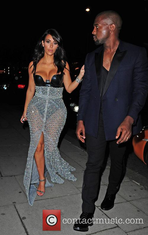 Kim Kardashian and Kanye West at Hakkasan Restaurant